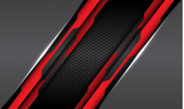 Linha de circuito preto vermelho cinza metálica com fundo de malha hexágono escuro.