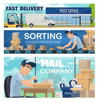 Linha de classificação e entrega de correios