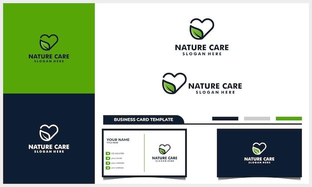 Linha de coração cuidados com a arte com conceito de design de logotipo de folha da natureza e modelo de cartão de visita Vetor Premium