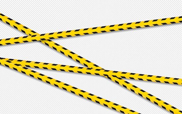 Linha de cuidado e perigo. aviso preto e amarelo, fitas da polícia, atenção, linha de sinal.