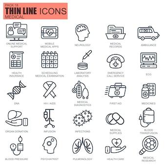 Linha de cuidados de saúde e ícones de medicina