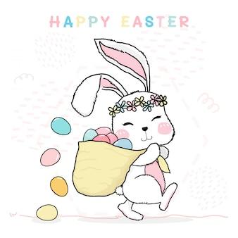 Linha de desenho bonito coelho feliz páscoa segurando o saco de ovos coloridos pastel