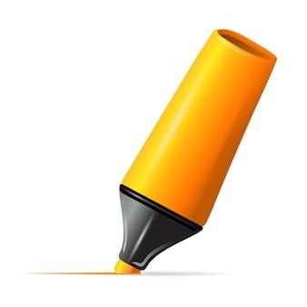 Linha de desenho do marcador amarelo