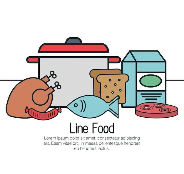 Linha de design de alimentos