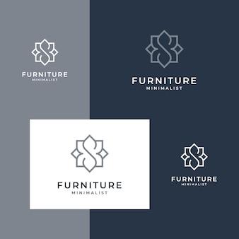 Linha de estilo de design de logotipo de mobiliário minimalista.