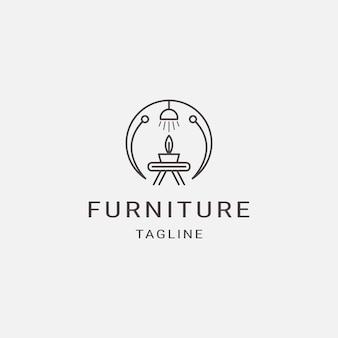 Linha de estilo mobiliário logotipo luxo design de interiores