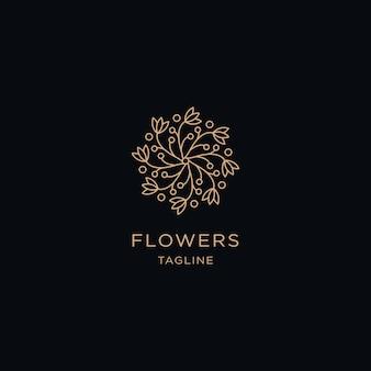 Linha de flores premium com modelo de logotipo de estilo de arte de linha