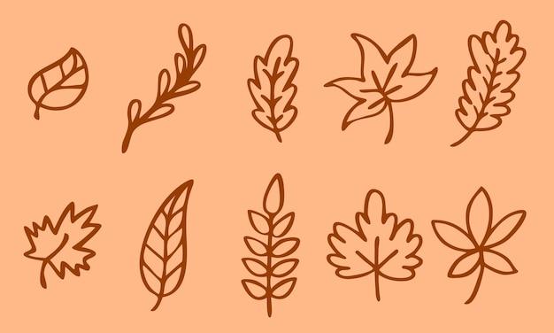 Linha de folhas de outono