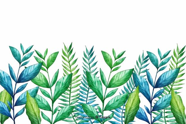 Linha de folhas verdes desenhadas à mão