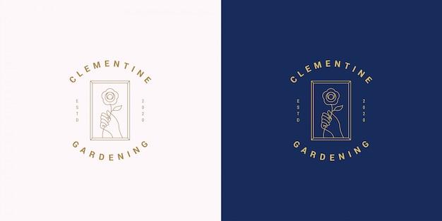 Linha de gesto de mão feminina e flor rosa vetor logotipo emblema design modelo ilustração estilo linear simples