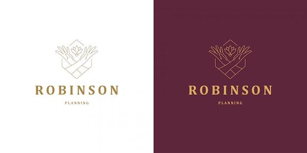 Linha de gesto de mãos femininas e flor rosa vetor logotipo emblema design modelo ilustração estilo linear mínimo simples