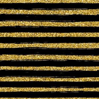 Linha de glitter dourado textura no fundo preto padrão sem emenda no estilo do ouro do projeto do vetor fundo da celebração metálico