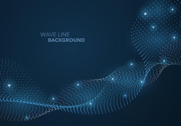 Linha de gradiente de ponto de onda abstrata futurista e fundo de modelo de bola de luz iluminada.