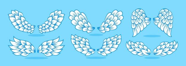 Linha de ícone de asa definida sinal vetor de logotipo de anjo alado