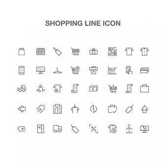 Linha de ícone de compras