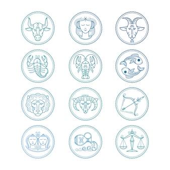 Linha de ícones conjunto de signos do zodíaco. emblemas do horóscopo colorido