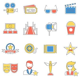 Linha de ícones de filmes
