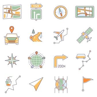 Linha de ícones de mapa