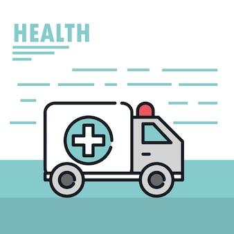 Linha de ilustração de emergência e urgência de ambulância médica de saúde e preencher