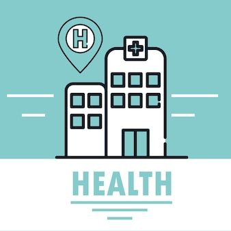 Linha de ilustração de serviço de construção de hospital médico de saúde e preencher