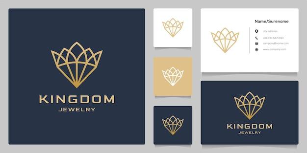 Linha de joias da coroa delinear ilustrações de design de logotipo de luxo