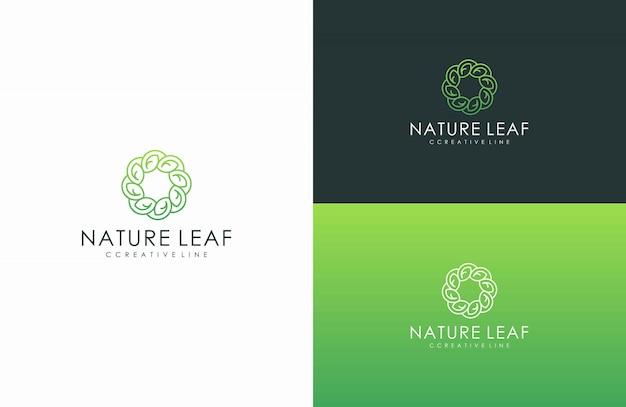 Linha de logotipo de estilo de folha natural