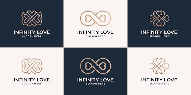 Linha de luxo com coleção de logotipo infinito e coração.
