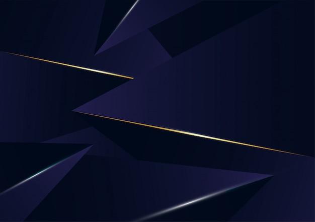 Linha de luxo dourado padrão poligonal abstrata com azul escuro
