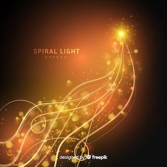 Linha de luz espiral dourada brilhante
