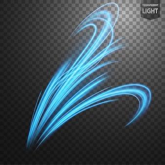 Linha de luz ondulada azul abstrata