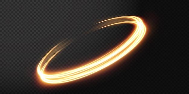 Linha de luz ondulada dourada luminosa sobre um fundo transparente luz dourada luz elétrica