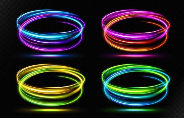 Linha de luz ondulada multicolorida abstrata com um vetor de fundo transparente
