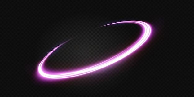 Linha de luz ondulada rosa luminosa em um fundo transparente luz rosa luz elétrica