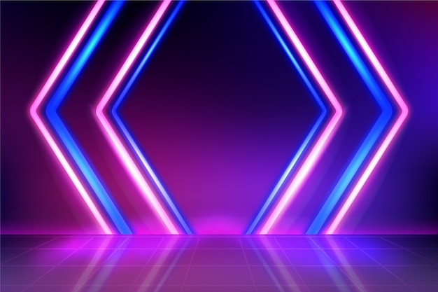 Linha de luzes de néon de fundo em violeta e azul