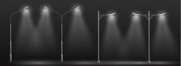 Linha de luzes de rua da cidade moderna