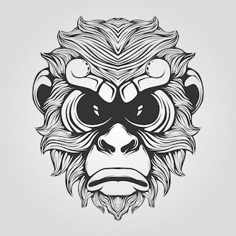 Linha de macaco na cor preto e branco