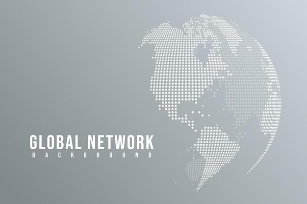 Linha de mash abstrata e escalas de ponto em fundo branco com global. linha de rede poligonal.