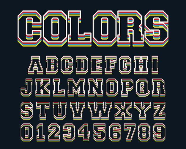 Linha de modelo de alfabeto de linhas coloridas