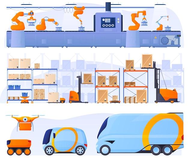 Linha de montagem automatizada com a ajuda de robôs. montagem razoável em um armazém. logística, entrega de mercadorias sem intervenção humana, drones