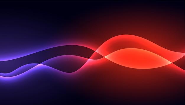 Linha de néon colorido brilhante design de fundo de onda