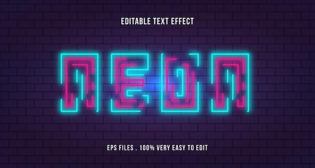 Linha de néon com efeito de texto de parede de tijolo