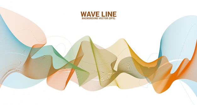 Linha de onda sonora curva no fundo branco. elemento para a tecnologia do tema futurista