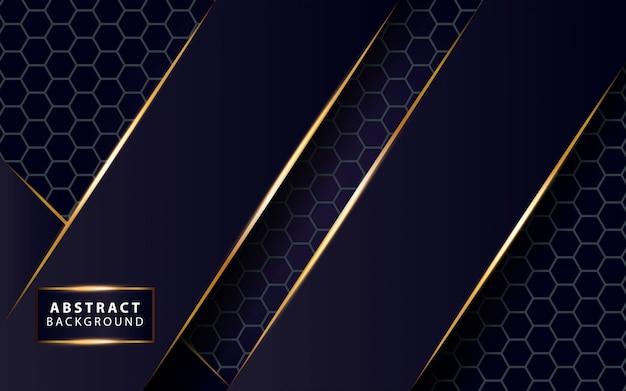 Linha de ouro brilho moderno fundo azul escuro