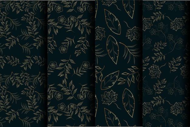 Linha de padrão sem emenda de flor dourada