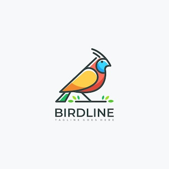 Linha de pássaro arte folha