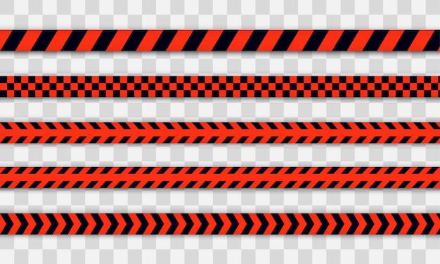 Linha de polícia vermelha fita de advertência, perigo, fita isolante. covid-19, quarentena, pare, não atravesse, fronteira fechada. barricada de vermelha e preta. zona de quarentena devido a coronavírus.