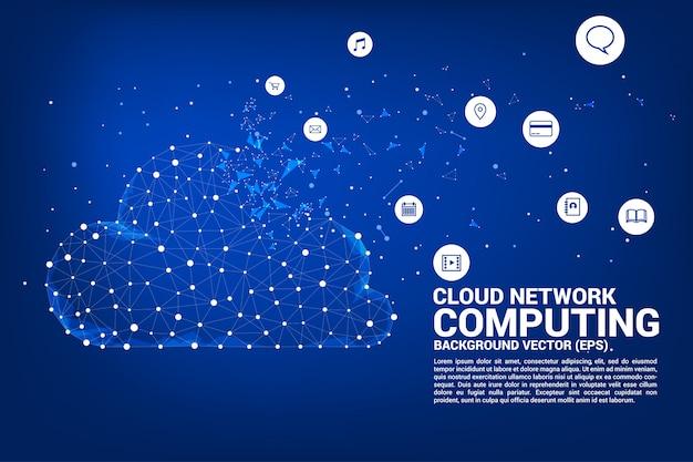 Linha de polígono de tecnologia de rede de computação em nuvem conectado linha com ícone