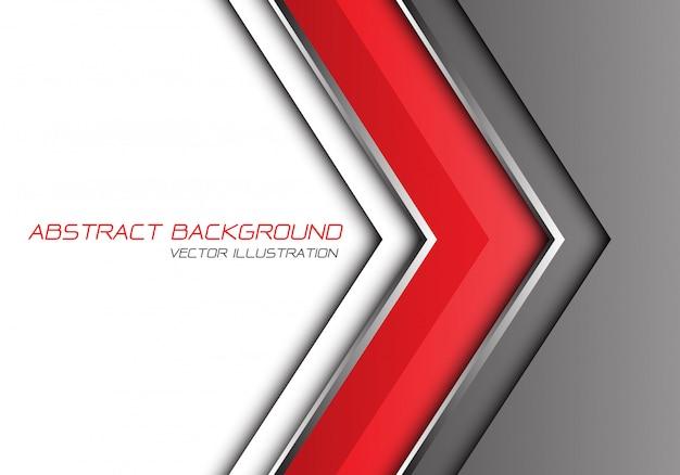 Linha de prata cinzenta vermelha fundo branco do espaço vazio do sentido da seta.