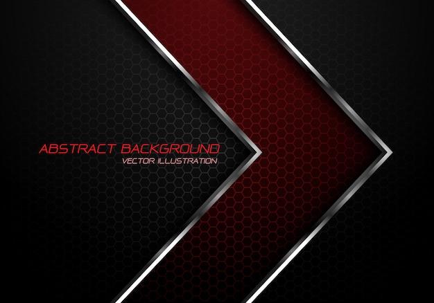 Linha de prata vermelha seta no fundo cinzento escuro da malha do hexágono.