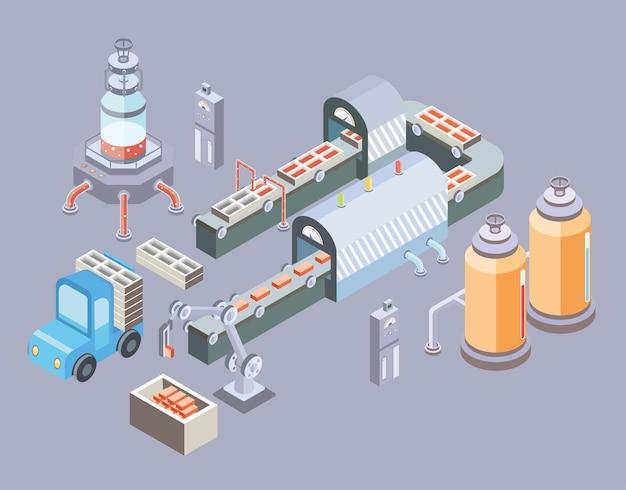 Linha de produção automatizada. chão de fábrica com esteira e várias máquinas.
